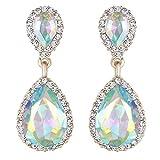 EVER FAITH Women's Austrian Crystal Wedding Tear Drop Dangle Earrings Iridescent AB Gold-Tone