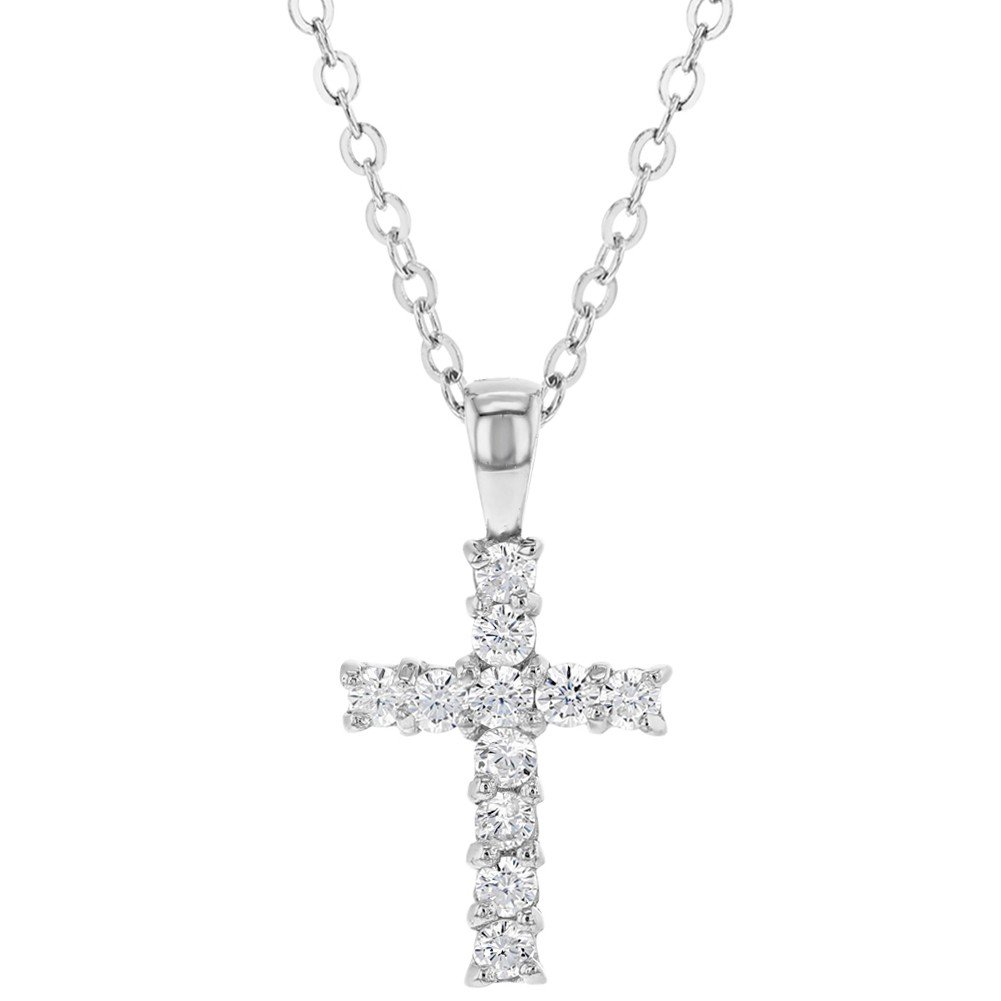 925 Sterling Silver Small Clear CZ Cross Necklace for Kids Little Girls 19