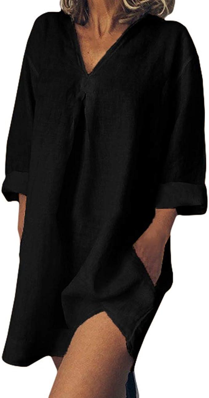 Vestidos Algodón y Lino Mujer - Suelta Bohemia Casual Camisa Vestidos Cuello en V Manga Larga Verano Vestido de Playa Mini Vestidos S-5XL: Amazon.es: Ropa y accesorios