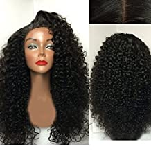 Maycaur Half Hand Tied Lace Front Wig With Baby Hair Kinky Curly Synthetic Lace Front Wig For Women 24-26 Inch
