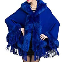 Win8Fong Women's Faux Mink Fur Shawl Cloak Cape Coat With Tassels