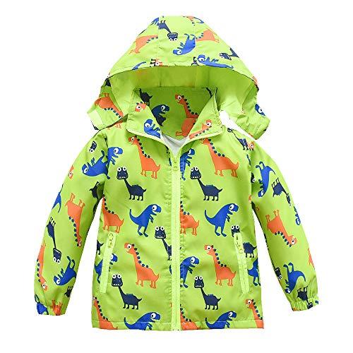 Boys Girls Jacket Hooded Trench Dinosaur Zip Lightweight Kids rain Coat Windbreaker Outdoor (Green,3T)