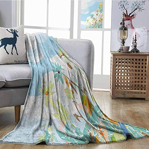 (Axbkl Printing Blanket Christmas Merry Xmas Wish with Fir Tree Branches Poinsettia Flowers Cute Birds and Deer All Season Premium Bed Blanket W54 xL72 Green Red Tan)