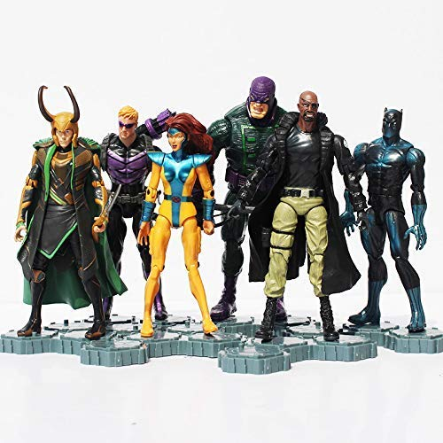 PAPCOOL Set 6 Action Figures 6 - 7 inch Legends Hot Toys Collection Black Panther Loki Hawkeye Nick Fury Phoenix Toy Figure Christmas Halloween Collectible Collectibles Gift Collectable Gifts for Kids