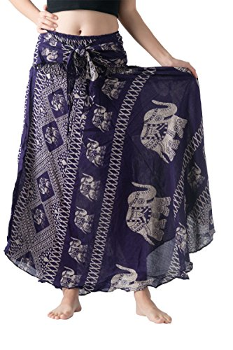 Bangkokpants Women's Long Bohemian Hippie Skirt Boho Dresses Elephant One Size Asymmetric Hem Design (Purple, Plus Size)