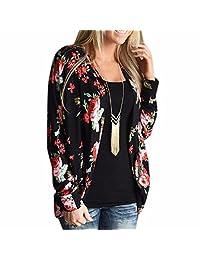 QIYUN.Z Women's Flower Patterned Long Sleeve Coat Open Cardigan Outdoor Tops