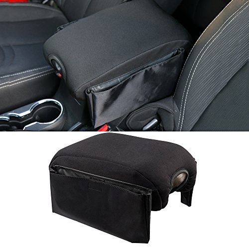 Santu Black Center Console Cover Neoprene Armrest Pad For Jeep Wrangler JK Sahara Sport Rubicon X & Unlimited 2011-2017(Multifunctional Style)