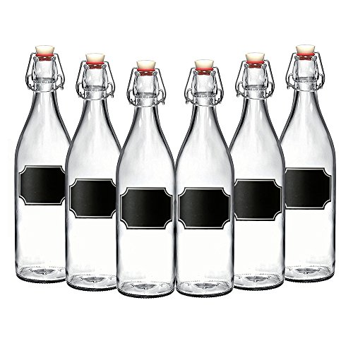 (6-Pack Giara Bottles, Giara Glass Bottles w/Chalkboard Labels, 33.75 oz. Glass Bottles for Beverages, Oils & More, Elegant Swing Top Reusable Glass Water Bottles w/Topper)