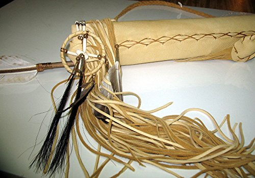 Hand Crafted Quiver with Arrows Native American Decorated with Buffalo Hair Pipes Medicine Bags Fringes by Roger Enterprises (Image #2)