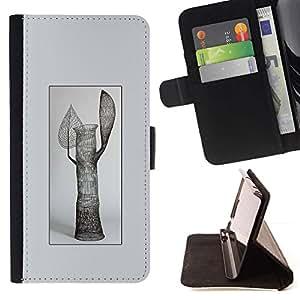 Momo Phone Case / Flip Funda de Cuero Case Cover - Arte Moderno estatua árbol Hojas Naturaleza Simbólico - Sony Xperia Z2 D6502