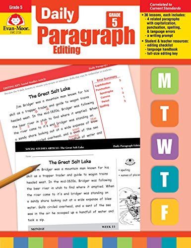Evan-Moor Daily Paragraph Editing, Grade 5 (Punctuation Exercises With Answers For Grade 6)