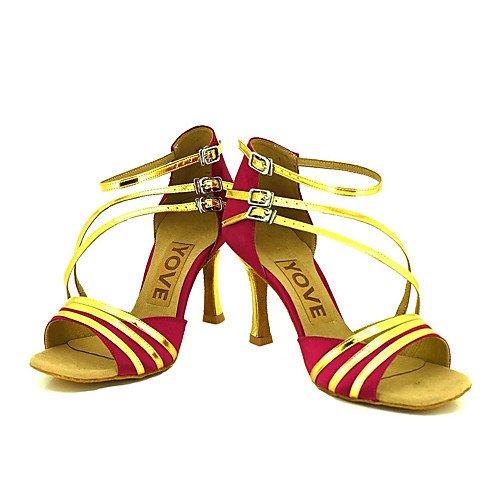 T.T-Q Zapatos de Baile de la profesión de Las Mujeres Sandalias Latinas Rojas Salsa Jazz Tango Swing Practice Indoor Performance rojo