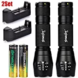 Glumes Sky Wolf Eye Tactical Flashlight LED T6 High Powered Zoomable Rechargeable 18650 Battery Flashlight Torch, Durable Aluminum Alloy, with 18650 Battery and Charger (Black)
