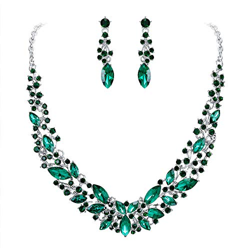 BriLove Wedding Bridal Necklace Earrings Jewelry Set for Women Austrian Crystal Marquise Cluster Collar Necklace Dangle Earrings Set Emerald Color Silver-Tone ()
