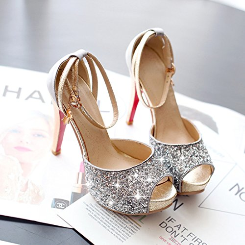 peep Ye Chaussures argent or toe pour femme C5UOqS