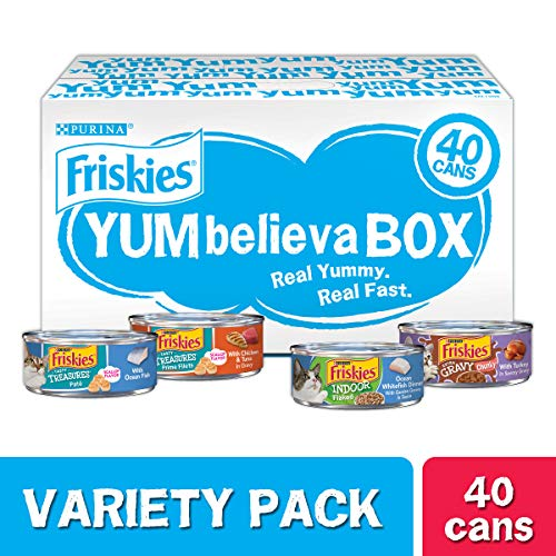 Purina Friskies Wet Cat Food Variety Pack, YUMbelievaBOX YUM-Sational Treasures – (40) 5.5 oz. Pull-Top Cans