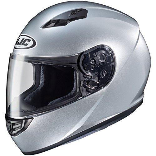 Silver Performance Street Helmet - HJC Solid CS-R3 Men's Street Bike Motorcycle Helmet - Silver Large
