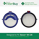 2 - Dyson DC25 (DC-25) Post HEPA Replacement Filters, Part # 916188-05. Designed by FilterBuy to fit Dyson DC-25 Ball Upright Vacuums