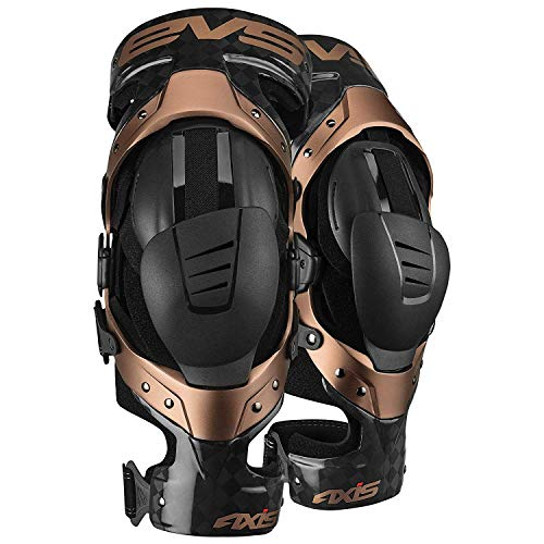 EVS Sports Black/Copper Axis Pro Knee Brace Size Medium Pair Made for Lightweight Comfort and Flexibility ()