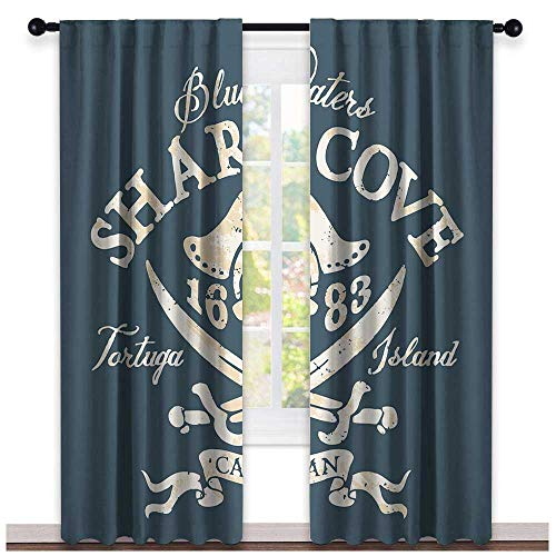 hengshu Pirate Queen Size, Kitchen Curtains Valances, Shark Cove Tortuga Island Caribbean Waters Retro Jolly Roger, Curtains Kitchen Window, W72 x L96 Inch Slate Blue White Light Mustard
