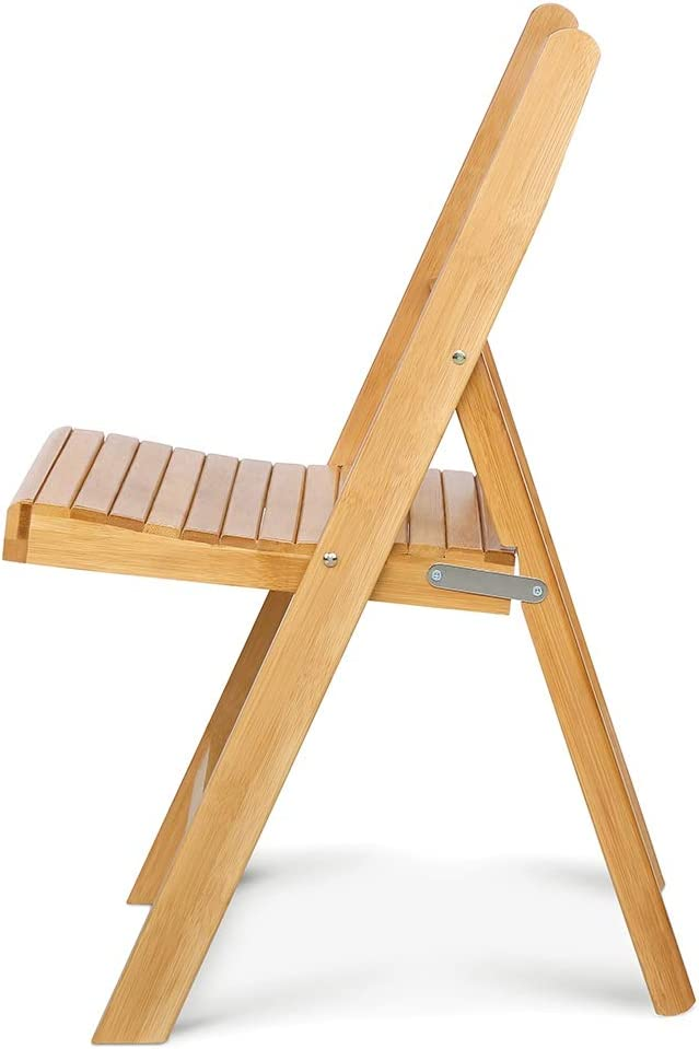 EBTOOLS Folding Chair,Portable Bamboo Folding Chair Cute Laughing Face Design Desk Chair Durable Wooden Chair Seat with Back for Living Room Bedroom Bathroom Balcony,12.8x13.6x22.2inch