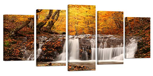 Ardemy Canvas Art Painting Nature Yellow Forest Leaves Waterfall Rustic Landscape 5 Pieces/Set, HD Large Sizes Rustic Picture Prints Gallery Wrapped for Living Room Bedroom Home and Office Wall Decor Fall Leaves Photo