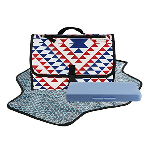 Dete Foldable Waterproof Baby Diaper Changing Mat Portable Changing Pad for Travel Kit and Wipes Case (Triangle) by Dete