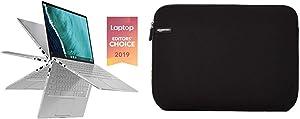 "Asus Chromebook Flip C434TA-DS384T 2 in 1 Laptop, 14"" Touchscreen FHD 4-Way NanoEdge, Intel Core M3-8100Y Processor & AmazonBasics 14-Inch Laptop MacBook Sleeve Case - Black"