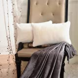 """Home Brilliant Deluxe Fluffy Faux Fur Sheepskin Rectangular Accent Throw Pillow Cover for Bed, 1 Pc, Pillow Not Included, 12""""x20"""", Ivory"""