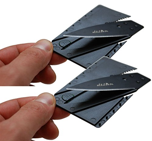 Atziloose Folding Credit Card Pocket Knife with Plastic Cover Handle, Pack of 2