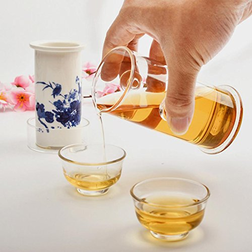 Hoobar Glass Kungfu Tea Set Teapot Glass with Ceramic Infuser for Gongfu Tea Set / Tea Tray