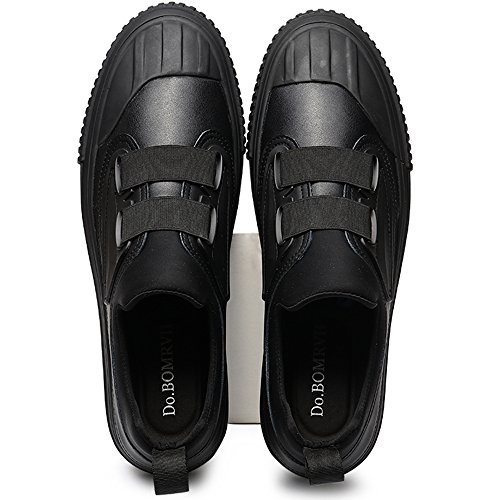 VILOCY Mens Leather Flat Loafer Shoes Gentleman Boy Casual Slip On Sneakers Low Top Trainers Black HmJix45