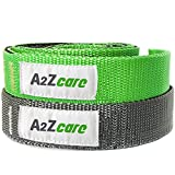 A2ZCare Stretch Strap with Multi-loop Elastic, 76 inches long, 1 inch wide - The Best Exercise Strap for Yoga, Physical Therapy Rehab (Pack 2 (Gray/Purple, Black/green))