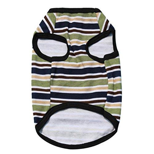Image of Voberry Small Dog Shirt Pet Dog Summer T-Shirt Dog Cat Striped Cotton Vest Shirt (S, Black)