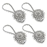 curtain tie back ideas Sumnacon 4 Packs Crystal Curtain Magnetic Tieback Flower Curtain Clips Buckle with Stretchy Wire Rope for Home Office Decoration (4 Pcs Silver Peacock)