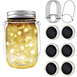 PAPRMA 6 Pack Solar Mason Jar Lights, 20 LED Jar Lid Fairy String Lights with 6 Hangers, Decorations for Party Garden Patio Path Christmas, Warm White(Jar NOT Included)