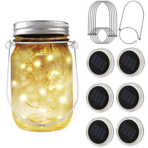 PAPRMA 6 Pack Solar Mason Jar Lid Lights, 20 LED Jar Lid Fairy String Lights with 6 Hangers, Decorations for Party Garden Patio Path Christmas, Warm White(Jar NOT Included)