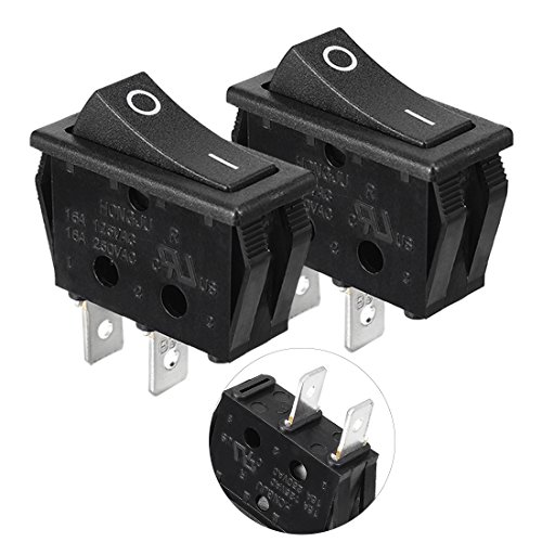 uxcell 2 Pcs AC 16A/250V On/Off SPST Panel Mount Snap In Boat Rocker Switch UL (Panel Mount Rocker Switch)