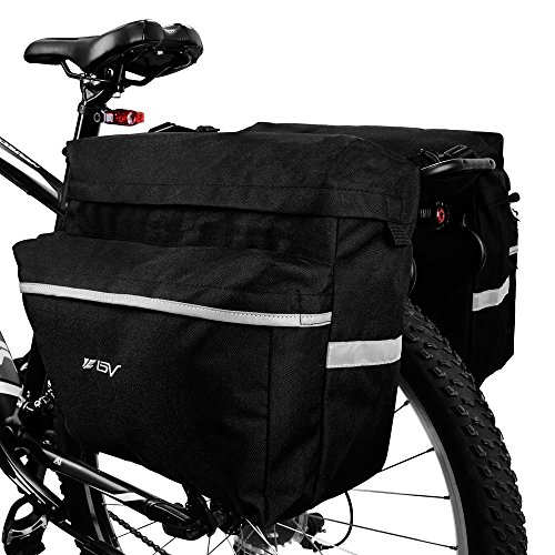 Adjustable Back Hook - BV Bike Bag Bicycle Panniers with Adjustable Hooks, Carrying Handle, Reflective Trim and Large Pockets