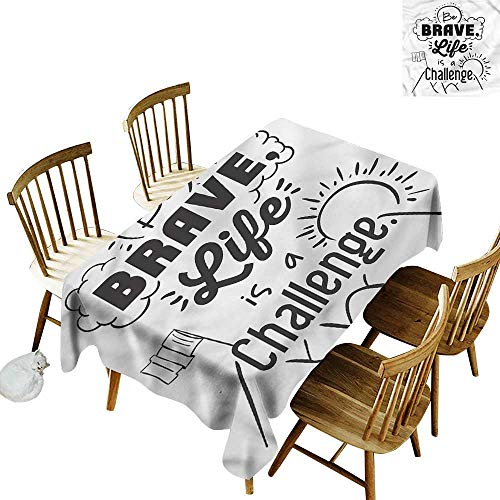 (Custom Tablecloth Quotes Be Brave Themed Slogan Table Cover for Dining 60