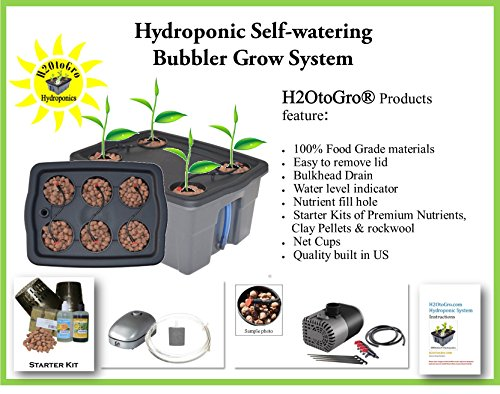 Complete Hydroponic System Self-watering DWC Bubbler Kit # 4-6 H2OtoGro Review