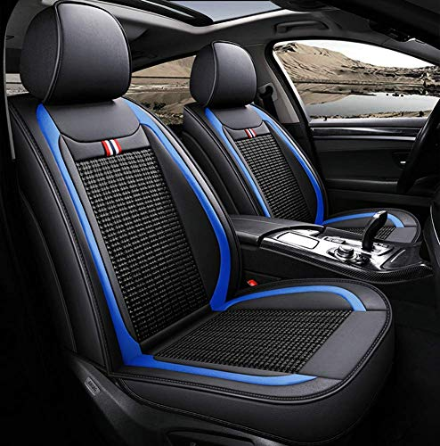 LNDDP Leather Ice-silk Car Seat Cover- Anti-Slip Suede Backing Universal Fit Car Seat Cushion Compatible with Both Fabric and Leather Car Seats,Blue: Sports & Outdoors