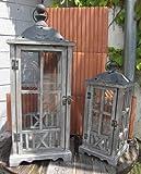 Terassen Laternen Set 2-teilig in Antik grau-braun - Landhausstil
