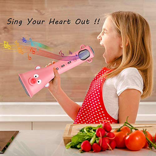 TOSING Wireless Karaoke Microphone for Girls, Top Birthday Mother's Day Gifts & Creative Toys for 4 5 6 7 8 9 10 Years Old Kids Teens, Bluetooth Handheld Karaoke Machine for Solo Singing Home Party by TOSING (Image #5)