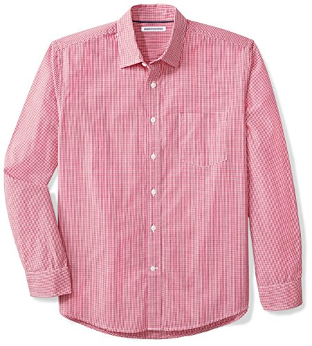 Amazon Essentials Men's Regular-Fit Long-Sleeve Gingham Casual Poplin Shirt, Red Mini-Gingham, X-Large ()
