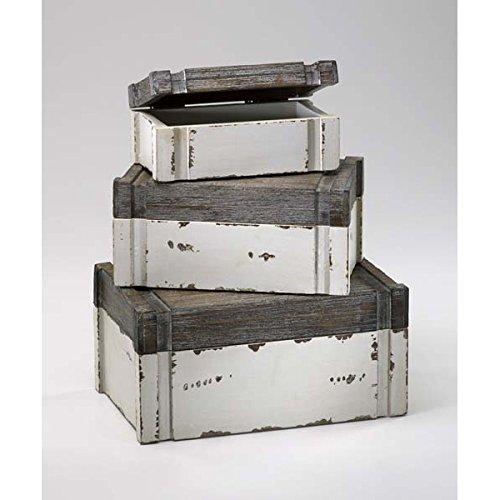 Zinc Decor Small Wood Jewelry Boxes S/3 Keepsake Storage Chests Beachy