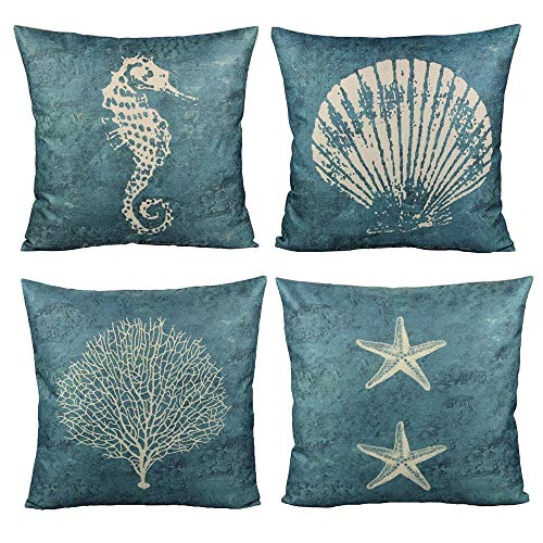 All Smiles Ocean Decor Throw Pillow Case Sea Theme Decorative Cushion Cover Marine Outdoor Square 18x18 Set of 4 for Couch Patio Sofa,Navy Seahorse Shell Coral Starfish