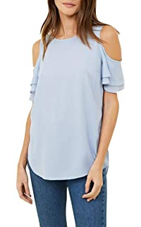 d0d429c8dd6 CMCYY Womens Chiffon Plus Size Crewneck Cut Out Shoulder Ruffled T-Shirts