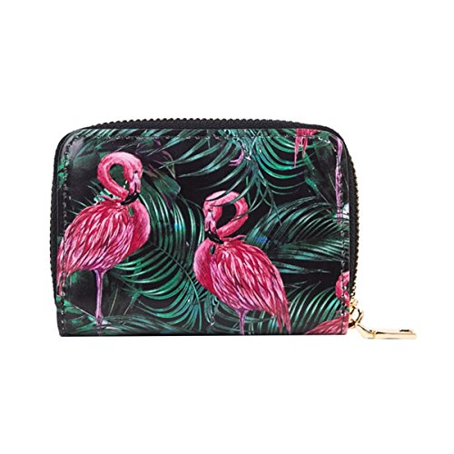 Credit Card Wallet with Zipper, OURBAG Women RFID Blocking Credit Card Holder Accordion Wallets Card Case Flamingo by OURBAG (Image #1)
