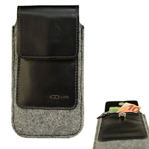 OrLine Tasche Holster Echt Leder-Schutzhülle Apple Iphone 5 Lederetui Hülle Handytasche Leder Case Cover mit Magnetverschluss Halterung an Gürtelschlaufe in der Farbe Schwarz/Grau Handarbeit.